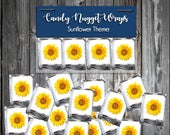 100 Candy Chocolate Wraps Sunflower Personalized Wrappers Printed Wedding Favors