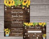 Rustic Sunflower Wedding Invitations Printed and Shipped to You Includes Invitation, Self Mailing RSVP Card, and Envelopes Wedding101