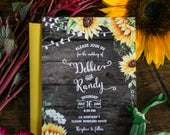 Rustic Sunflower Wedding Invitation, Rustic Wedding, Country Wedding Invitation, Wood Wedding Invitation, Custom Invitation, SUN02