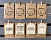 Let Love Grow SEEDS INCLUDED Personalized Wedding or shower favor, Brown woodgrain Seed Packets Sunflower or Wildflower, woods theme