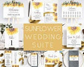 Sunflower Wedding Template Suite Printable, Complete Yellow Invitation and Decor Set, Instant Download
