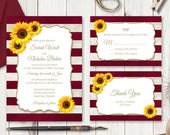 DIY Wedding Invitation Set Sunflower Stripes, Burgundy Red. Rustic Printable Wedding Templates. Editable Text, MS Word. Instant Download.