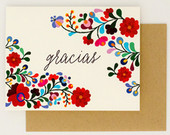 Floral Destination Wedding Thank You Cards Gracias Colorful Mexican Embroidery Inspired Summer Wedding Card (Rachel Suite)