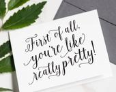 Funny Will You Be My Bridesmaid Cards Youre Like Really Pretty, Bridesmaid Card Set, Maid of Honor Proposal, Best Seller WPC201
