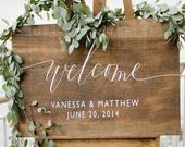 Wooden Wedding Welcome Sign with Names and Date Rustic Wedding Welcome Signage Wood Wedding Welcome Signs Wedding Decor WS16