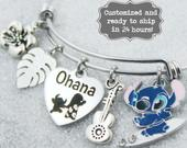 Ohana, Lilo Stitch, Ohana Means Family, Bracelet DISNEY Inspired, Bracelet, Graduation, Custom Name Charm Bracelet, Adjustable Bangle