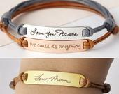 Leather Handwritten Bracelet Memorial Signature Jewelry Christmas Handwritten Jewelry In Memory of Mom Silver Signature Bracelet