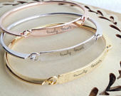 Actual Handwriting bangle, Custom handwritten bar bracelet, Personal engraved signature cuff, Memorial Keepsake Gift, Rose gold name bangle.