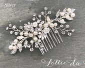 Silver Boho Hair Vine Comb, Bridal Pearl Flower Hair Comb, Wedding Hair Vine Wedding Pearl Hair Comb, Boho Wedding Headpiece ZARA