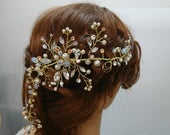 Gold HandWired Wedding Hair Vine with Pearls and Rhinestones