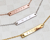 Engraved Necklaces Name bar necklace, Personalized Engraved Necklace, Letter Necklace, Design your own Necklace, Custom Bar Necklace