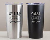 Engraved Groomsman Stainless Steel Tumbler: Personalized Groomsman Tumbler, Insulated Groomsmen Travel Mug, Groomsmen Tumblers SHIPS FAST