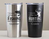 Personalized Outdoorsman Tumbler: Engraved Outdoorsman Stainless Steel Travel Mug, Personalized Hunting Fishing Tumbler with Name SHIPS FAST