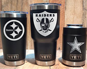 YETI Black Stainless Steel Tumbler Laser Engraved 20 or 30 oz, or Colster Select Your NFL Football Team, Personalized, Groomsman Gift