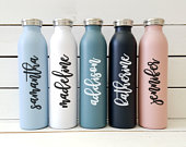 Personalized Matte Water Bottle, 20 oz Stainless Steel Water Bottle, Personalized Tumbler Cup, Wedding Party Gift, Mothers Day Gift