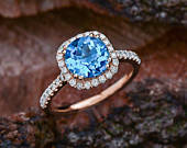 Engagement Ring with Round London Blue Topaz 14K Rose Gold