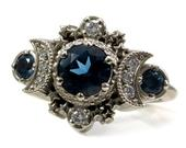 London Blue Topaz and Diamond Cosmos Engagement Ring Triple Moon Goddess White Gold Jewelry