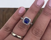 Sapphire Sterling Silver Vintage Engagement Ring Wedding Ring