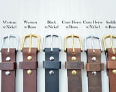 Handcrafted Leather Mens, Womens, or Youth Belt Choose from multiple leather and hardware options. Product of the USA. Use size guide!