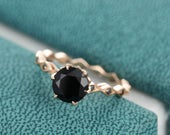 Black Onyx engagement ring Rose gold vintage Unique Black Diamond wedding for women Promise Bridal Jewelry Antique Anniversary gift for her