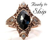 Ready to Ship Size 6 8 Artemis Moon Engagement Ring Set Rose Cut Marquise Black Diamond with White Diamond Sides