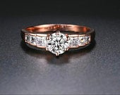 Black Friday Sale Rose Gold Diamond Engagement Ring That Looks Real Christmas Gift for fiance wife mother