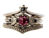 Black Diamond And Garnet Crown and Moon Engagement Ring Set Gothic Victorian Fine Jewelry
