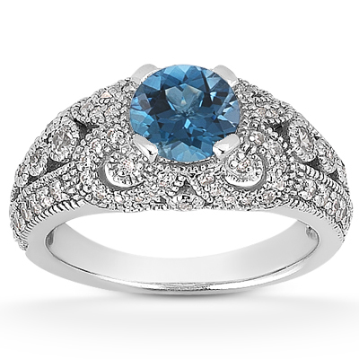 0.89 Carat Blue and White Diamond Vintage Engagement Ring