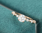 Moissanite engagement ring Rose gold vintage engagement ring Unique moissanite Promise Bridal Jewelry Antique Anniversary gift for her