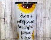 Sunflower Glitter Dipped Stainless Steel Tumbler Glittered Tumbler Personalized Custom Wildflower Mothers Gift Yeti Lid