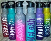 Glitter Sport Water Bottle. Custom Ombre Water Bottle. Stainless Steel Cup. Glitter Tumbler With Straw. Personalized (Optional)