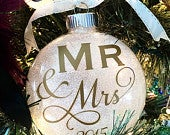 Our First Christmas Ornament Wedding Present Bridal Shower Gift Gold Glitter Christmas Ornament Customizable 4 Glass Ornament