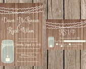 Rustic Wedding Invitation, Mason Jar Wedding Invitation, Lace Wedding Invitaiton, Country Wedding Invitation, Barn Wedding Invitaiton