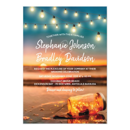 Tropical Sunset Beach Mason Jar Lights Wedding Invitation