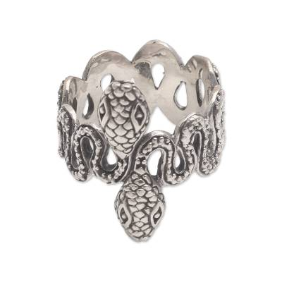 Sterling Silver Snake Band Ring from Bali