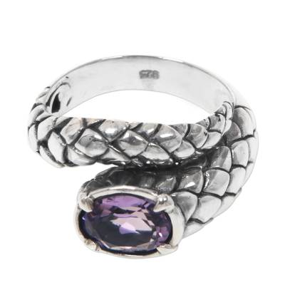 Amethyst and Sterling Silver Cocktail Ring with Snake Motif