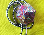Bolo Tie Gigantic Confetti Glitter Tesun Diamond Bolo Tie on Black and White Leather Cord