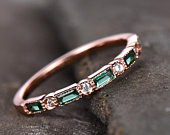 Emerald Wedding Band Half Eternity Band Art Deco Stacking Wedding Ring Anniversary Ring Sterling Silver Rose Gold Plated Milgrain