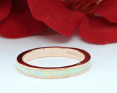 3mm Band Full Eternity Ring Created White Opal Rose Gold Solid 925 Sterling Silver Wedding Band, Opal Band
