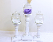 Wood Candle Holder Pillar/Taper Holder/Wedding Candle Holder/Candy Jar/Apothecary jar
