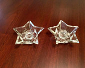 Clear Glass 5Point Star Taper Candle Holder Vintage Hazel Atlas Set of 2