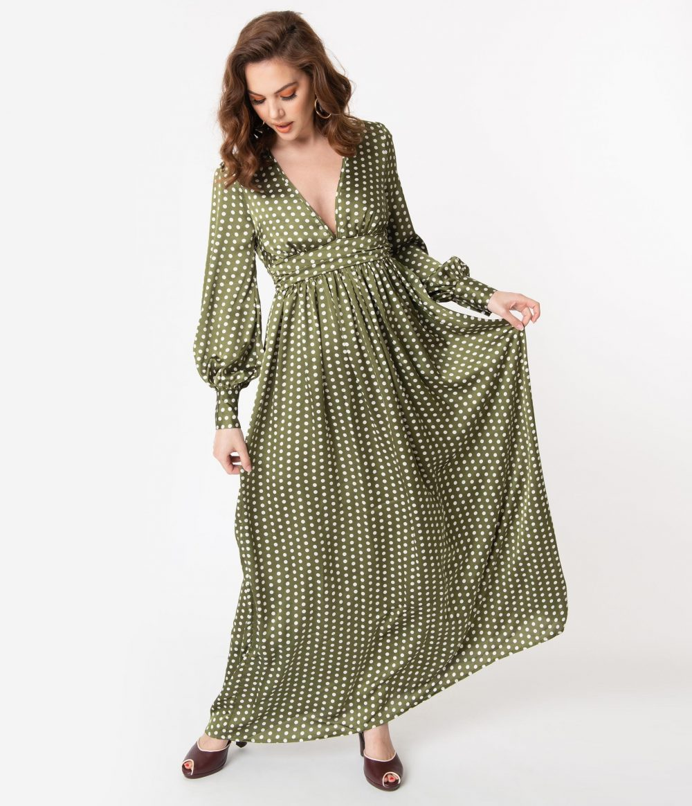 1970S Style Moss Green & Ivory Polka Dot Maxi Dress