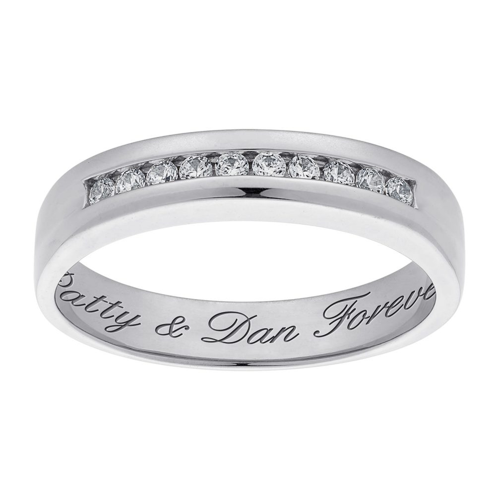 Her Sterling Silver Engraved CZ Wedding Band