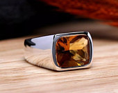 Natural Citrine Ring For Men in 925 Sterling Silver AAA Quality Citrine Gemstone Mens Wedding Ring Jewelry, Gift For Him