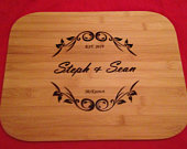Personalized Wood Engraved Wedding Cutting Board