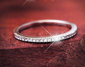 1mm Womens Diamond Simulant Cubic Zircon CZ 925 Sterling Silver Anniversary Wedding Band Skinny Ring Size 312 Half Sizes Available S1853