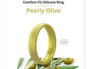 Silicone Wedding Ring Band True Comfort Fit in Pearl Baby Green 4mm
