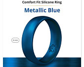 Silicone Wedding Ring Band True Comfort Fit in Metallic Dark Blue 6mm