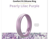 Silicone Wedding Ring Band True Comfort Fit in Pearl Baby Purple 4mm