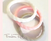 Silicone Ring Women, Wedding Bands, Light Pink, Gray, White Stackable Rings